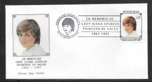 Just Fun Cover Honduras #1011 FDC Offical Tributes to Princess Diana (my4053)
