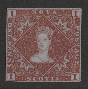 NOVA SCOTIA : 1851 QV 1d red-brown on blue.