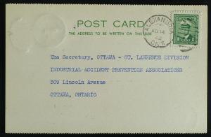 Alexandria Ont duplex 249 war geoVI  report postcard 1942