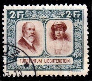 Liechtenstein 1930- Prince Francis & Elsa , 2fr,  F-Used Fault # 107