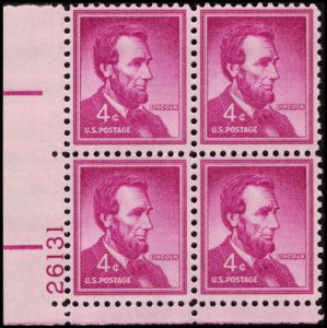 US #1036a ABRAHAM LINCOLN MNH LL PLATE BLOCK #26131 DURLAND .50¢
