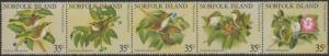 Norfolk Island 1981 SG269-273 White-chested White-Eye strip of 5 MNH