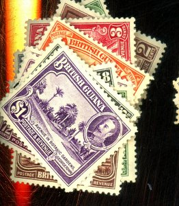 BR GUIANA #210-22 MINT VF OG HR/LH Cat $137