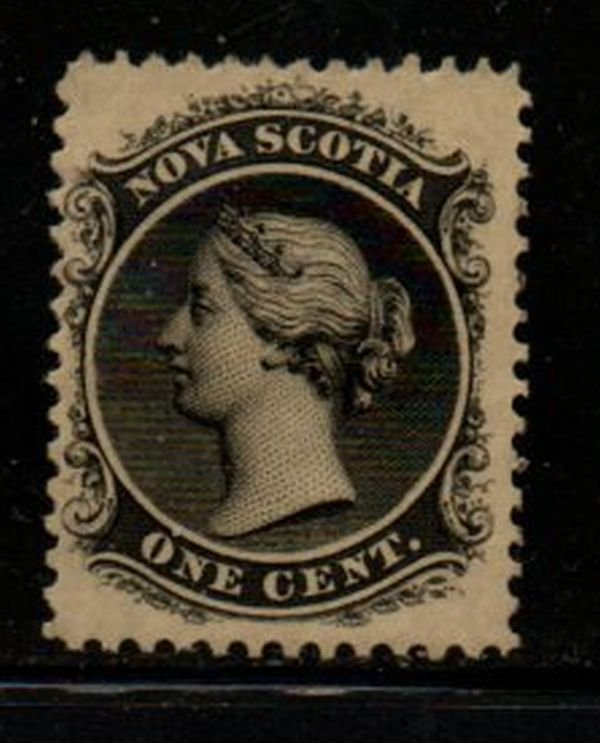 Nova Scotia Sc 8 1860 1c black Victoria stamp mint