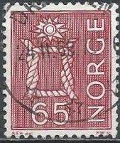 Norway 467 (used) 65ø boatwain's knot, lake (1968)
