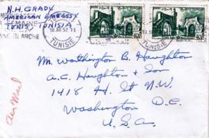 Tunisia 40F Bab-El-Kadra Gate (2) 1957 Tunis R. P, Tunisie Airmail to Washing...