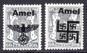 BELGIUM 276 WW2 AMEL OVERPRINTS x2 DIFFERENT OG NH U/M F/VF BEAUTIFUL GUM