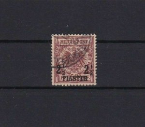 GERMAN P.O `s  IN TURKEY USED STAMP 2½pi ON 50pf LAKE  1889 CAT £170  REF 6750