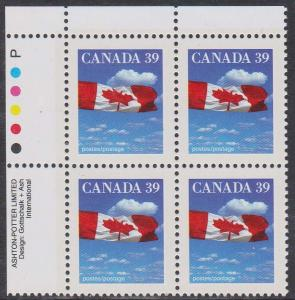 Canada USC #1166i Mint VF-NH 1990 39c Flag Ashton Potter Imprint Block
