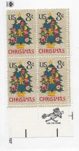 United States, 1508, Christmas 1973  ZIP Block of 4, LR, MNH