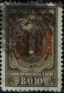 CANAL ZONE #J9 1915 RED CANAL ZONE OVERPRINT ON PANAMA POSTAGE DUE ISSUE-USED