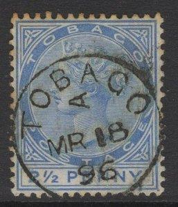 TOBAGO SG16c 1883 2½d DULL BLUE SLASH FLAW USED