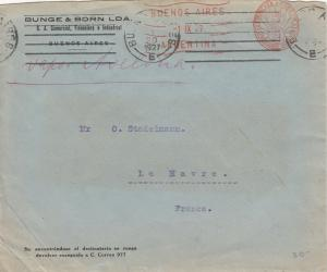 Cover Buenos Aires Argentina to France 1927 Fancy Meter