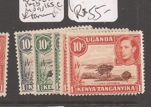 Kenya, Uganda and Tanganyika 10c SG 134-6, 134b, 135c slight toning MOG (2cfl)