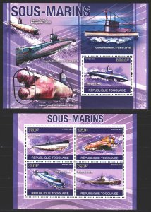 Togo. 2010. 3744-47, bl559. Submarines. MNH.
