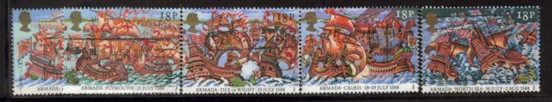 Great Britain Sc 1217-1 1988 Spanish Armada stamps used