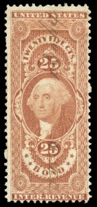 B373 U.S. Revenue Scott R43c 25c Bond, 1864 manuscript cancel