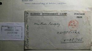1940 Isle Of Man England Rushen Women Internment Camp Censor Cover To Cambridge