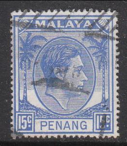 Malaya Penang 1949 Sc 13 KGVI 15c Used
