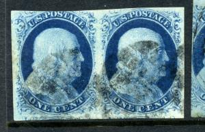 Scott #9 Franklin Imperf Used Pair Pos. 17-18R1L (Stock #9-54)
