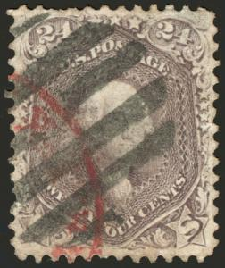 #70 24c Violet 1861 VF Used w/Part Magenta & cork grid cancels