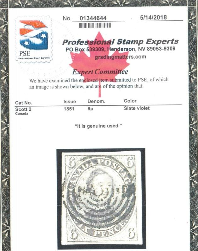 Canada #2 Extra Fine Used With Sharp Laid Lines **With Certificate**