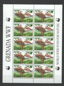 PK132 GRENADA FAUNA WATER BIRDS OF THE WORLD WWF 1SH MNH STAMPS