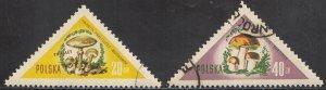 Poland, Sc 842,845, CTO-NH, 1959, Mushrooms