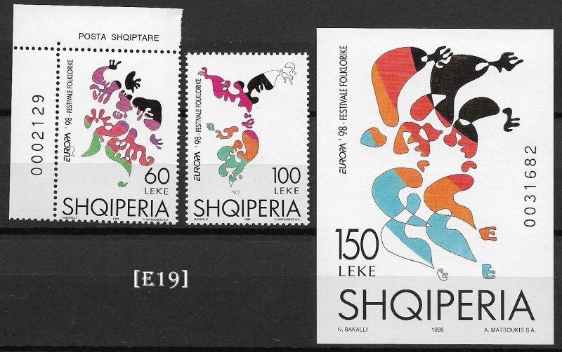 [E19] Albania 1998, Europa,Folk Festivals, MiNr.2548-49, Bl. 112, MNH