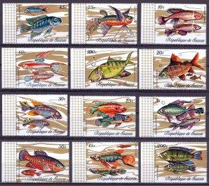 Guinea. 1971. 571-82A. Fish fauna. MNH.