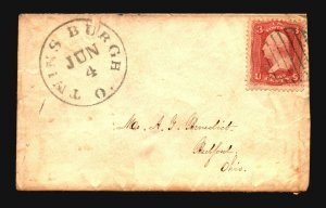 US 1860s Twins Burgh Ohio Cover  - Z18558