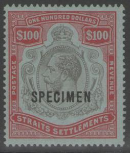 MALAYA STRAITS SETTLEMENTS SG240cs 1923 $100 BLACK & CARMINE SPECIMEN MTD MINT