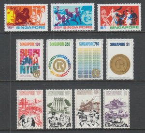Singapore Sc 161-163, 167-170, 171-174 MNH. 1972-73 issues, 3 complete sets, VF