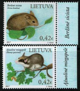 Lithuania #1104-05 MNH - Lithuania Red Book Rodents (2017)