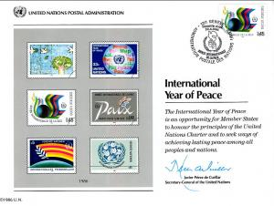 UN SC30 Year of Peace Souvenir Card Geneva Cancel FDC