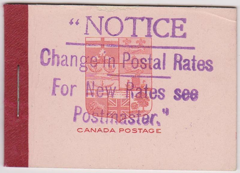 Canada USC#BK5f Cat. $150.00 Two panes of six 2c Carmine in Complete Booklet