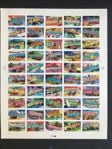 2002 sheet 37 cent Greetings from America Sc# 3696-3745