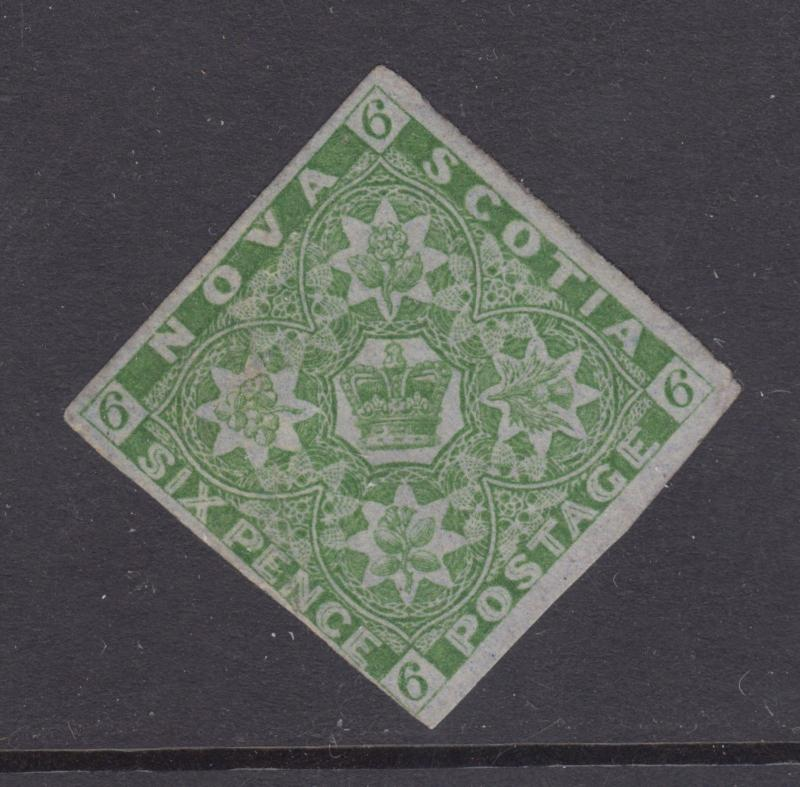 Nova Scotia Sc 4 MOG. 1851 6p yellow green Crown & Flowers, Greene Cert. Rare.