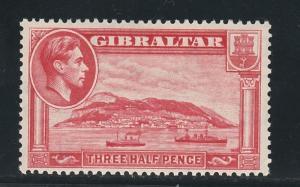 GIBRALTAR 1938 KGVI ROCK 11/2D RARE PERF 13.5