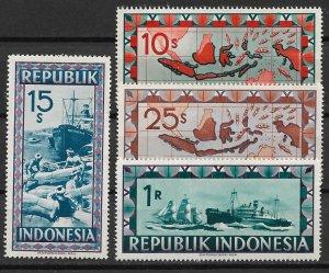 1948 Indonesia 54-6, 58 Failure of Dutch Blockade partial set of 4 MH