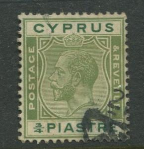 Cyprus - Scott 92 - KGV Definitive Issue -1924 - Used - Single 3/4pi Stamp