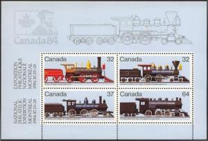Canada - 1984 Locomotives Souvenir Sheet VF-NH #1039a