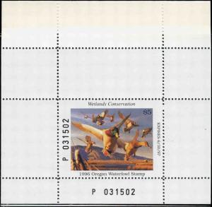 OREGON #13A 1996 STATE DUCK STAMP MALLARD/WIDGEON/PINT BOOKLET by Robert Steiner