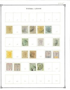 sierra Leone Mint (15) & Used (22) Hinged on Blank Int. Pages