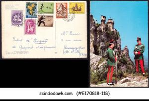 SAN MARINO - 1963 FORTRESS'S GUARD PIC. POSTCARD TO FRANCE WITH STAMPS