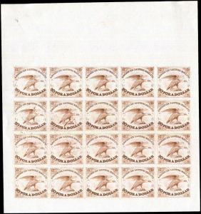USA 5L1 Local American Letter Mail Co Complete Reprint Proof Sheet - Brown