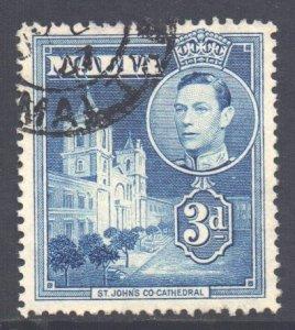 Malta Scott 197a - SG223a, 1938 George VI 3d Blue used