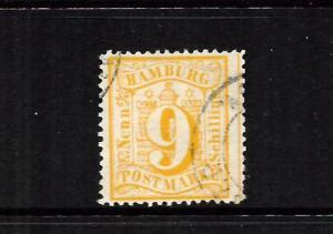 HAMBURG  1864-65  9s   YELLOW   FU    SG 38
