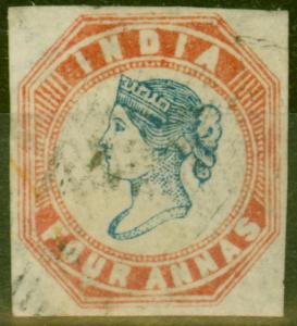 India 1855 4a Blue & Red Head Die II Frame Die I V.F.U With Watermark Type 2