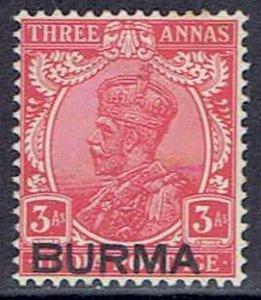 Burma, Scott #7; Overprinted 3a King George V, MH